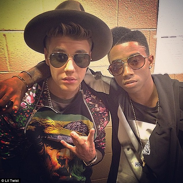 Lil Twist hanging out with Bieber