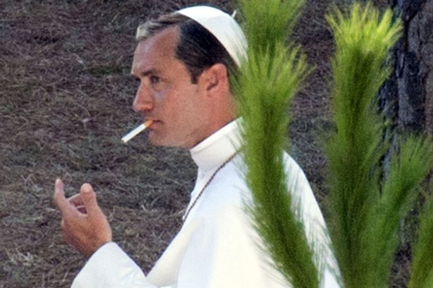 Jude Law in costume for The Young Pope