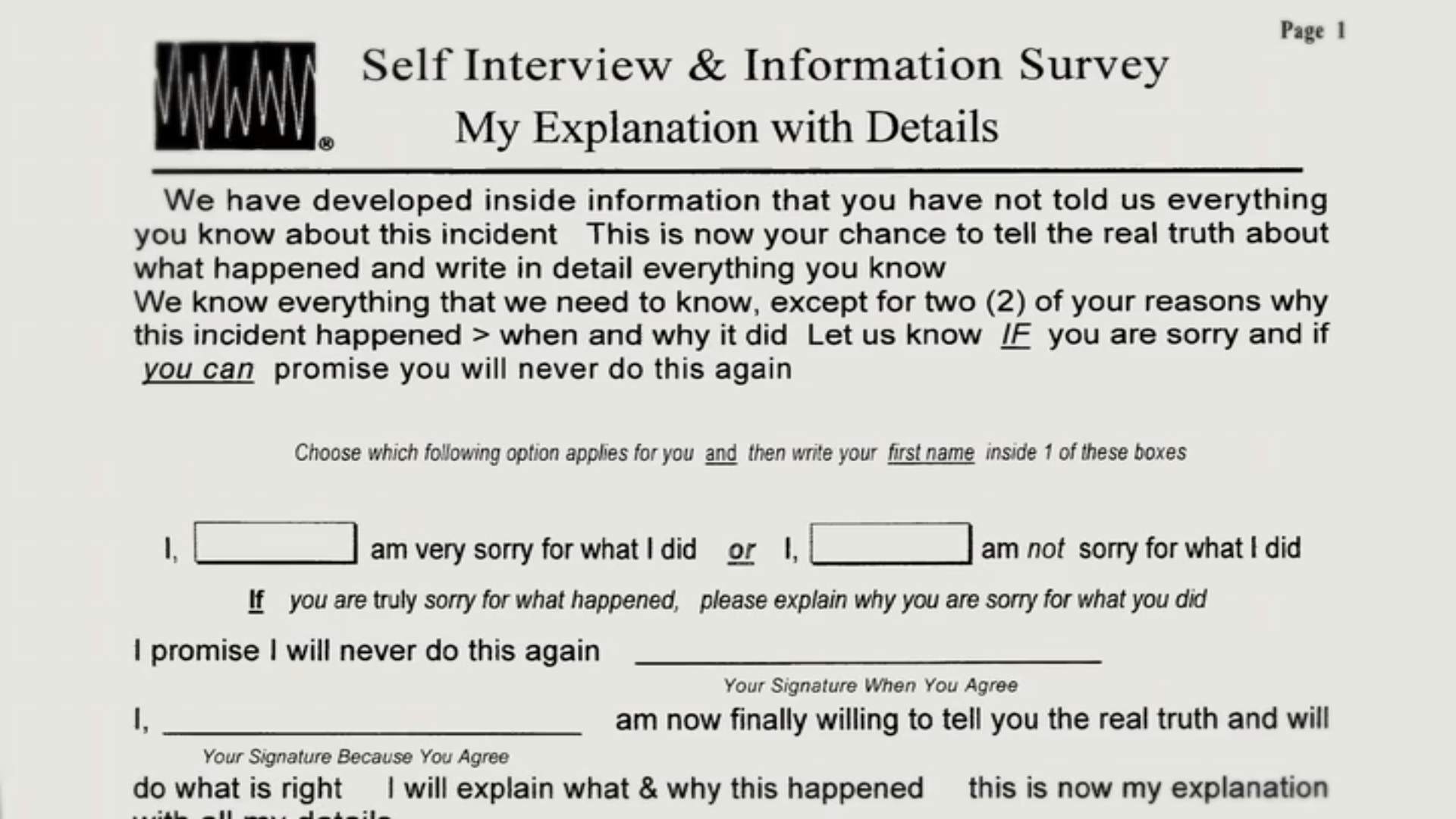 The form Michael O'Kelly gave Brendan Dassey