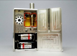 "The inner workings of a typical box mod; note that the batteries here can be pulled out and ""hot swapped"""