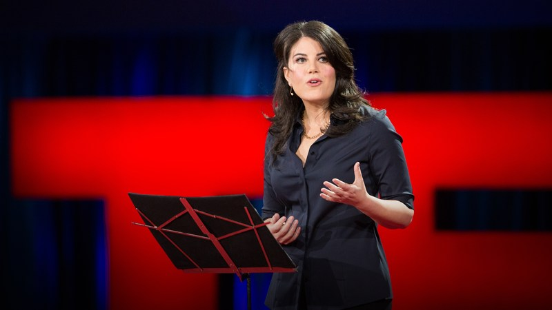 "Monica Lewinsky delivering her TED Talk, ""The Price of Shame"""