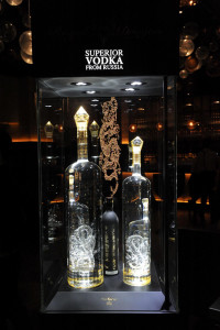 Royal Dragon Luxury Vodka 'The Imperial' in glass display