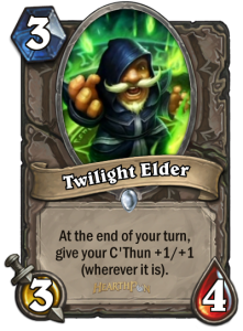An example of the playstyle of Whispers of the Old Gods, you will spend a lot of effort buffing a certain minion that may not even be in your hand or on the field!