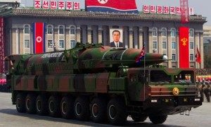 A North Korean missile vehicle in Pyongyang