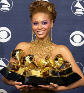 Beyoncé with just some of her Grammy Awards