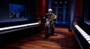 Bryce grabs the sharks' attention as he enters the shark tank on his motorcycle