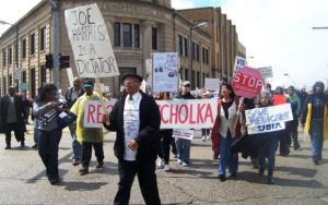 A protest in Benton Harbor over the suspension of the city council's decision capabilities.