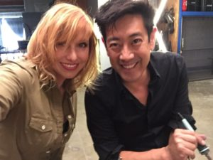 A recent photo of Grant Imahara and Kari Bryon on the set of their new show.