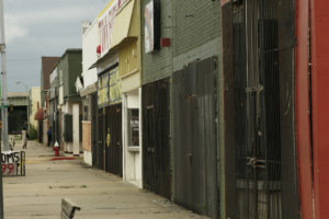 Once a bustling main street, now most shops are permanently closed.