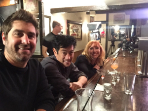 Kari, Grant, and Tory together in a bar earlier this year, hinting at a new project together