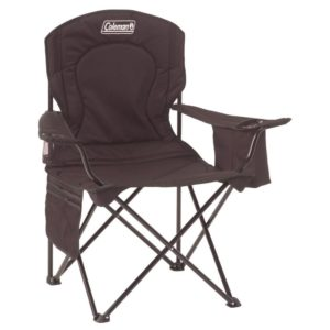 Black camping chair with built in storage