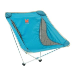 Blue portable camping chair with two legs
