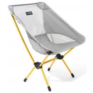 Grey portable camping chair with yellow legs