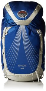 Blue and silver hiking backpack