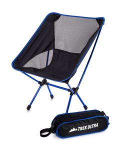 Black portable camping chair with small carrying bag