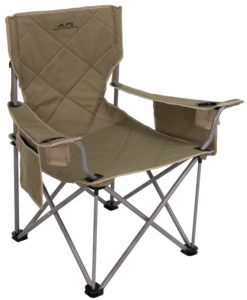 Tan camping chair with square back and built in storage