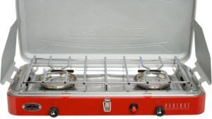 A red 2 burner camping stove