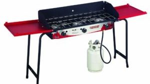 A free standing red camping stoves