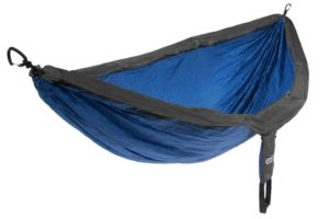 A blue and black camping hammock