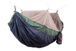 A large blue and green camping hammock with a mosquito netting canopy