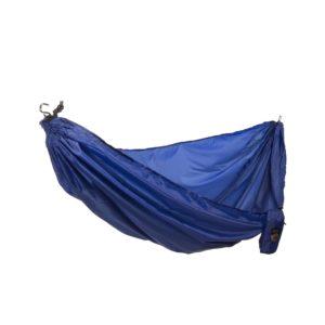 A blue camping hammock