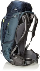 Side view of a slate blue hiking backpack