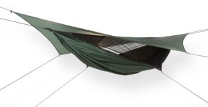 A green camping hammock with a rain fly