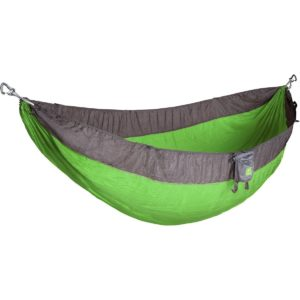 A grey and green camping hammock