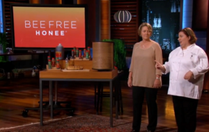 Katie and Melissa tell the sharks about Bee Free Honee