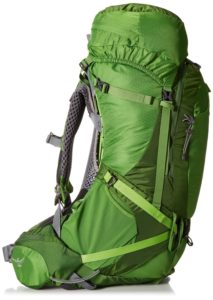 Side view of a bright green hiking backpack