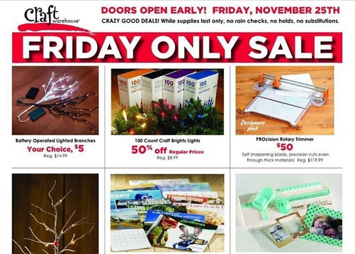 Craft Warehouse Black Friday Deals Full Ad Scan Gazette Review