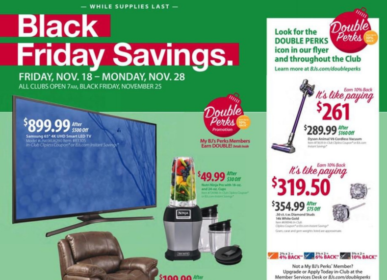photo about Bjs One Day Pass Printable titled BJs Wholesale Club Black Friday Offers Comprehensive Advert Scan