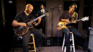 A recent photo of Kevin Eubanks working on the Duets album.