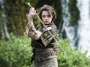 Arya Stark, as played by Maisie Williams.