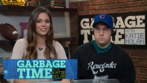 A recent still from an interview with Bartman on the popular show, Garbage Time with Katie Nolan, in the same outfit that he wore during the Incident.