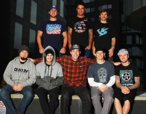 MANCHESTER, ENGLAND - NOVEMBER 26: Nitro Circus riders (back row l-r) Dov Rybnik, Jed Mildon, Josh Sheehan and (front row l-r) Beau Bamburg, Jarryd McNeil, Travis Pastrana, Erik Roner and Jaie Toohey pose for a photo prior to their Nitro Circus Live Show in Manchester on November 26, 2013 in Manchester, England. (Photo by Bryn Lennon/Getty Images)