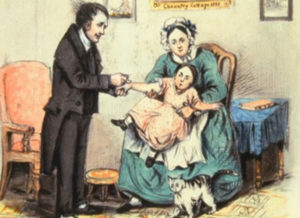 Painting of Dr. Jenner administering a vaccination.