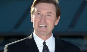 Jan 13, 2014; Los Angeles, CA, USA; Wayne Gretzky at a press conference at Dodger Stadium in advance of the NHL Stadium Series 2014 Los Angeles game between the Anaheim Ducks and the Los Angeles Kings. Mandatory Credit: Kirby Lee-USA TODAY Sports