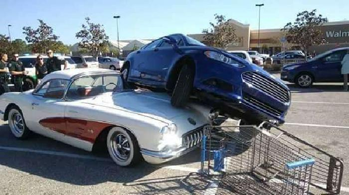 1959 Corvette Damaged In Walmart Parking Lot After Car ...